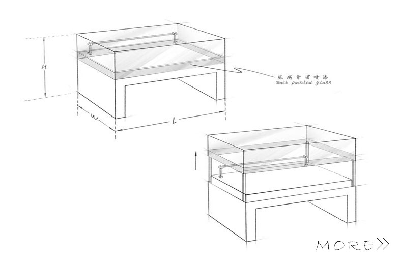 Five sided glass freestanding table top display cases;